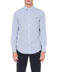 Ralph Lauren | Blue Slim-fit Checked Cotton Shirt for Men | Lyst