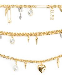 Juicy Couture | Metallic Multi Layer Love Chain And Charm Nec | Lyst