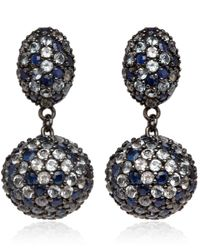 M.c.l - Black Rhodiumplated Sapphire Pave Drop Earrings - Lyst