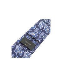 Dell'Oglio - Blue Cashmere Print Silk Tie for Men - Lyst
