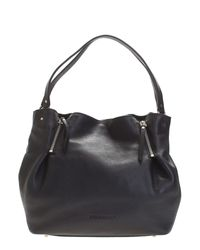 Burberry | Black Leather And Checked Canvas Maidstone Bag | Lyst