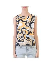 MSGM - Multicolor Multicoloured Linen Printed Top - Lyst