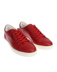 Dolce & Gabbana - Red Leather Sneakers for Men - Lyst