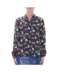 MSGM - Blue Cat Printed Silk Satin Shirt - Lyst