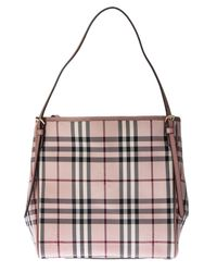 Burberry | Pink Leather And Nylon Canter Horseferry Small Bag | Lyst