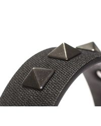 Valentino - Black Leather And Canvas Bracelet With Stud for Men - Lyst