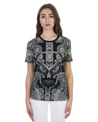 Alexander McQueen | Pasley And Skull Printed Black Cotton T-shirt | Lyst