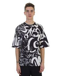 Dolce & Gabbana | Contrasting Salsa Printed Black Cotton T-shirt for Men | Lyst