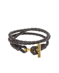 Tom Ford | Brown Leather Bracelet With Gold Closure | Lyst
