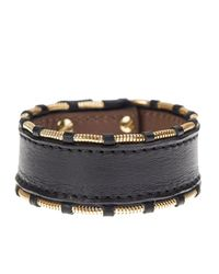 Givenchy - Black Leather And Gold Metal Shark Bracelet - Lyst