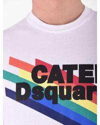 DSquared² - Blue Printed Cotton T-shirt for Men - Lyst