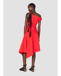 Derek Lam - Red One Shoulder Midi Dress - Lyst