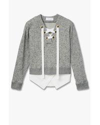 Derek Lam - Gray 2-in-1 V-neck Sweatshirt - Lyst