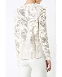 Derek Lam - Natural Lace Up V-neck Sweater - Lyst