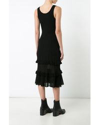 Derek Lam | Black Sheer Ribbed Dress With Ruffled Hem | Lyst