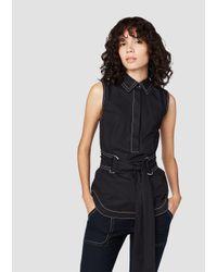 Derek Lam | Black Sleeveless Tie Waist D-ring Shirt | Lyst