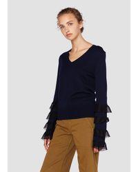 Derek Lam - Blue Long Sleeve V-neck Tiered Ruffle Sweater - Lyst