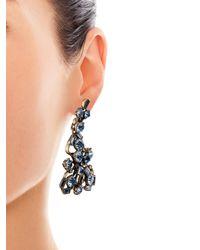 Oscar de la Renta - Metallic Crystal Flower Clip On Earrings - Lyst