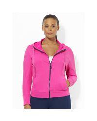 Ralph Lauren - Pink Full-zip Hooded Sweatshirt - Lyst