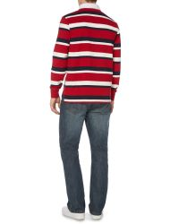 Howick | Red Hanover Striped Long Sleeve Rugby Top for Men | Lyst