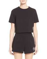 T By Alexander Wang | Black Bonded Neoprene Logo Top | Lyst