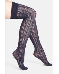 Vince Camuto | Blue Openwork Knit Thigh High Socks | Lyst