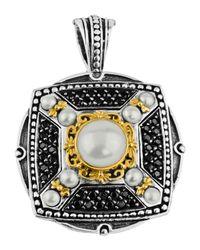 Konstantino | White Spinel & Pearl X-shape Pendant Enhancer | Lyst
