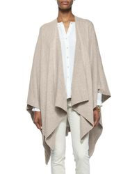 Eileen Fisher - Natural Cozy Luxe Wool Poncho Cardigan - Lyst