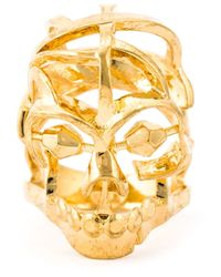 Alexander McQueen | Metallic Skull Cocktail Ring | Lyst