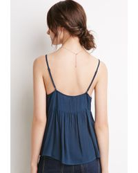 Forever 21 - Blue Crochet Overlay Babydoll Cami You've Been Added To The Waitlist - Lyst
