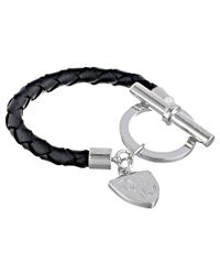 Lauren by Ralph Lauren - Metallic Logo Charm Item 8 Braided Leather with Large Ring and Toggle Bracelet - Lyst