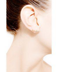 Janis Savitt | Metallic Geometric Diamond Earrings | Lyst