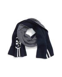 Tory Burch | Blue Reversible Knit Merino Wool Scarf | Lyst