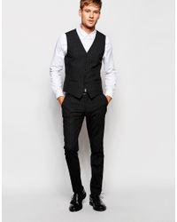 SELECTED - Black Mini Check Waistcoat In Skinny Fit for Men - Lyst