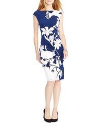 Ralph Lauren - Blue Lauren Floral Print Dress - Lyst