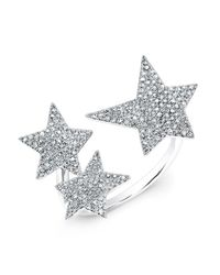 Anne Sisteron | Metallic 14kt White Gold Diamond Triple Star Ring | Lyst