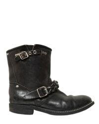 Golden Goose Deluxe Brand | Black 30Mm Distressed Calfskin Biker Boots for Men | Lyst