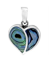 Aeravida | Blue One Love Heart Abalone Shell Inlay .925 Sterling Silver Pendant | Lyst