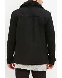 Forever 21 - Black Faux Shearling Collar Coat for Men - Lyst
