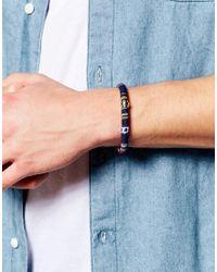 Mister - Blue Stripe Cord Bracelet for Men - Lyst