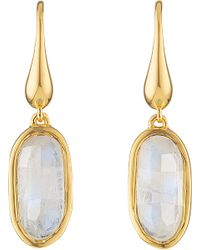 Monica Vinader | Metallic Vega 18ct Gold-plated Vermeil Moonstone Earrings | Lyst