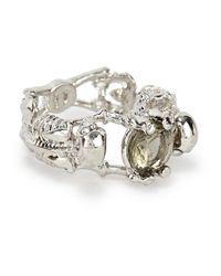 Alexander McQueen | Metallic Silver Tone Crystal Skeleton Ring | Lyst