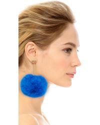 Tuleste - Metallic Pom Pom Long T Drop Earrings - Lyst