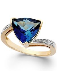 Macy's | Blue Topaz (4-1/2 Ct. T.w.) And Diamond Accent Ring In 14k Gold | Lyst