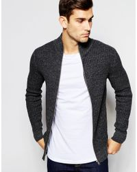 SELECTED - Gray Elected Homme Ribbed Zip Up Knitted Cardigan for Men - Lyst