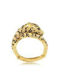 Roberto Cavalli - Metallic Goldtone with Crystals Panther Bracelet - Lyst