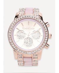 Bebe | Pink Rhinestone Sports Watch | Lyst
