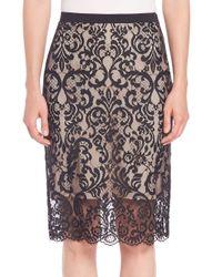 Elie Tahari | Black Violet Lace Pencil Skirt | Lyst