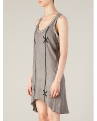 BLK OPM - Gray Barbed Wire Print Vest Dress - Lyst