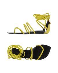 Giuseppe Zanotti - Green Wraparound Suede Sandals - Lyst
